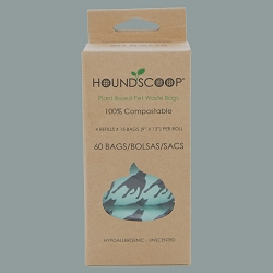 HOUNDSCOOP® 60 Count - Plant Based Compostable Pet Waste Bags - 4 Refill 15 Bag Rolls - Unscented