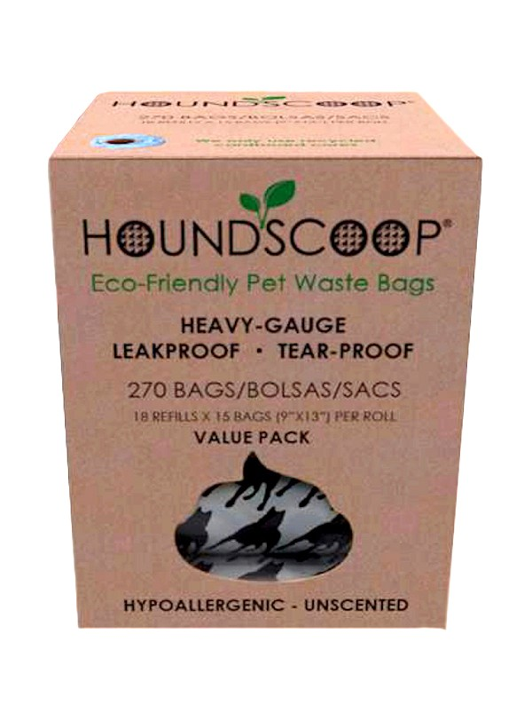 HOUNDSCOOP® Value Pack 270-Count Pet Waste Bags - 18 Refill 15 Bag Rolls - Unscented